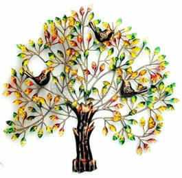 MohanJodero Multicolor 3 Bird Tree Wall Decor Metal Art