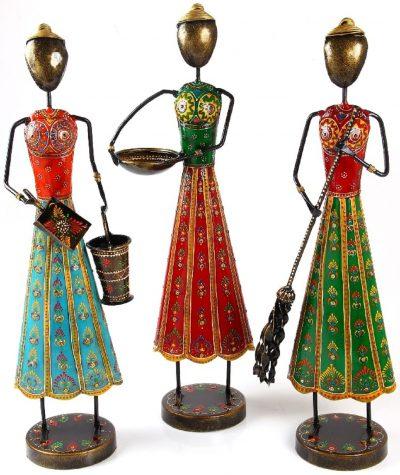 MohanJodero Metal Handicraft Handmade Tribal Lady Worker Set/3