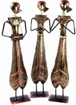 MohanJodero Metal Handicraft Long Tribal Musician Set of 3