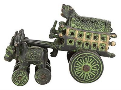 Mohanjodero Brass Bullock Cart in Antique Green Finish