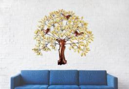 MohanJodero Wall Decor Metal Tree 3 Bird Multicolour Finished