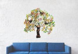 MohanJodero Multicolor 3 Bird Tree Wall Decor Metal Art