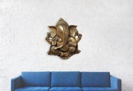 MohanJodero Brass Wall Hanging  Ganesha Statue