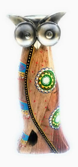MohanJodero Handmade Hanpainted Wooden Owl