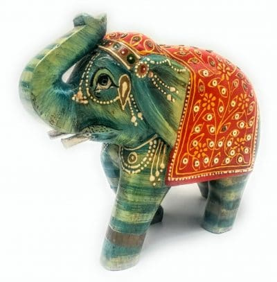 Rajasthan Handicraft Wooden Elephant with handpainted Floral Work
