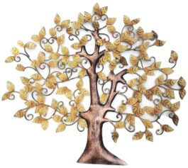 MohanJodero Wall Decor Metal Art ScrollTree of Life in Golden Finish