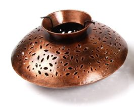 MohanJodero Metal Handicraft Handmade Handi Tea Light Holder ( Copper Finished)