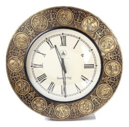MohanJodero Brass & Wooden Handmade Vintage Style Horoscope Clock
