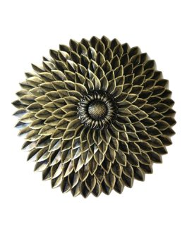 Wall Decor Metal Art Sunflower in Golden Antique Finish