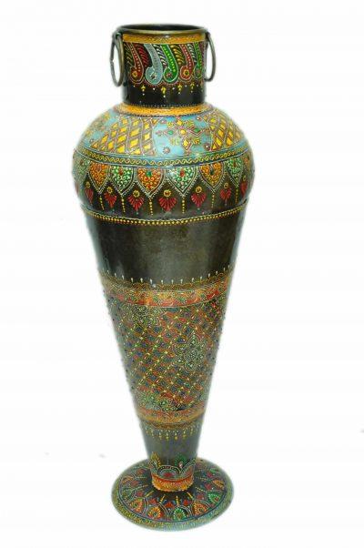 MohanJodero Handpainted Metal Handicraft Tapered Flower Vase