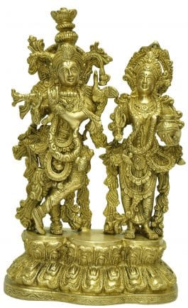 Mohanjodero Brass Radha Krishna statue in Antique Golden Finish
