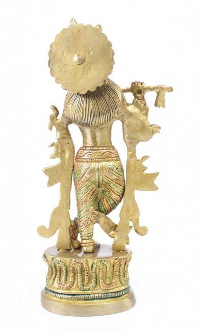 Mohanjodero Brass Lord Krishna Idol in Multicolor Finish