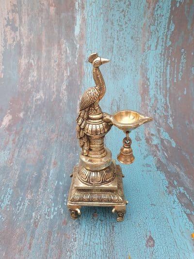 Mohanjodero Brass Peacock Diya/ Peacock Lamp with Bell
