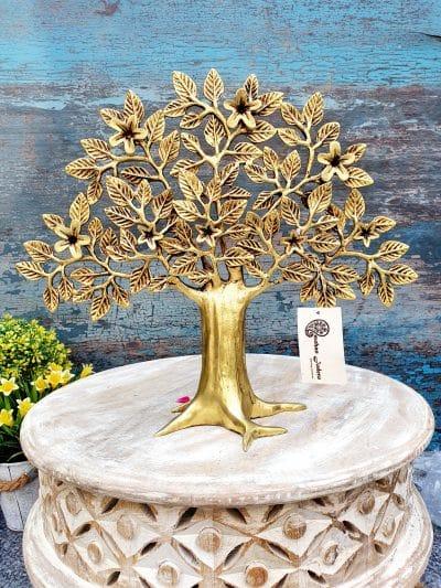MohanJodero Brass Tree of Life/Kalpavriksha Tree of Wisdom in Antique Golden Table Decor